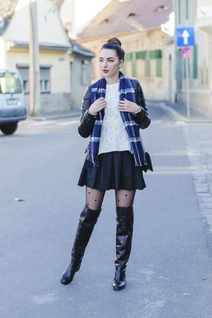 black Zara boots - black faux leather Zara jacket - white H&M sweater - H&M bag