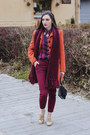 Carrot-orange-stradivarius-coat-crimson-maddison-shirt