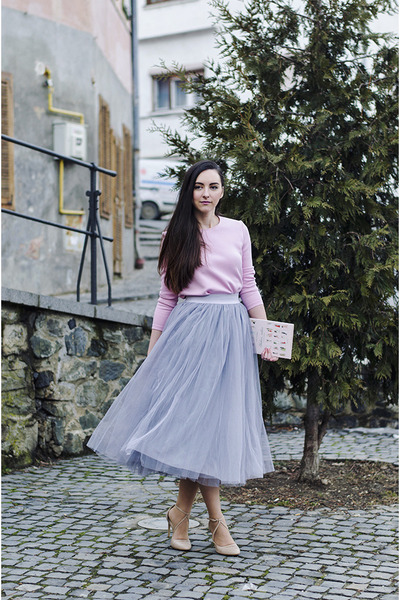 pink Front Row Shop top - tulle OASAP skirt - nude Zara heels