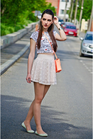 cream lace H&amp;M skirt - H&amp;M bag