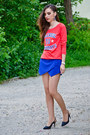 Blue-zara-shorts-fishbone-sweatshirt