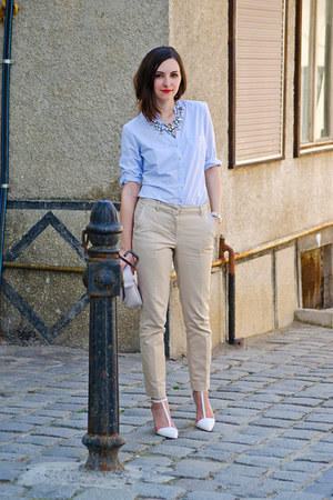 Zara shirt - H&M bag - Zara pants - Zara necklace - Zara heels