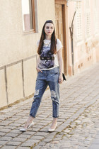 cat print c&a t-shirt - ripped Front Row Shop jeans