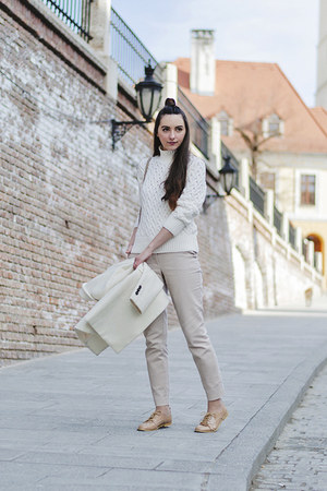 white knitted Zara sweater - off white boyfriend OASAP coat - beige Zara pants