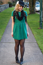 Green-h-m-dress-black-hue-tights-black-deena-ozzy-shoes-black-calvin-klein