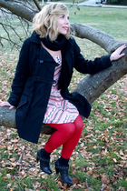 black Billabong coat - pink Kimchi Blue dress - red HUE tights - black Tristan s