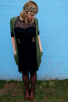 black Ann Young dress - green BDG cardigan - silver UO Metal Pin belt - black th