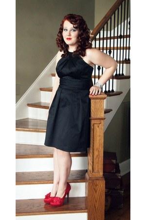 red satin heels - black vintage dress - silver vintage earrings