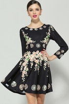 Fast shipping Outfitters Black Long Sleeve Floral Coins Print Dress