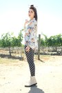 Cream-lace-up-boots-blouse-polka-dot-pants-bird-ring-butterfly-ring