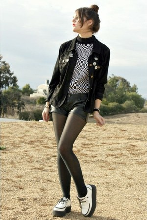 black jacket - white creeper shoes - leather shorts - accessories