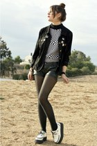 white creeper shoes - black jacket - leather shorts - accessories