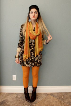brown ankle boots - animal print coat - orange tights - emroidered silk scarf