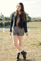 roper lace up boots - suede jacket - map scarf - shorts - lace knee high socks