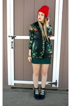 chain ankle boots - green bodycon dress - red beanie hat