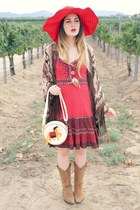 sun hat - cowboy Guess boots - prairie free people dress - horse print bag