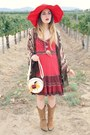 Cowboy-guess-boots-prairie-free-people-dress-sun-hat-horse-print-bag