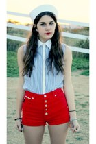 red studded shorts - sailor hat - blouse