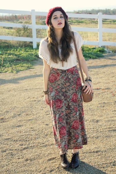 Floral Maxi Skirts, Brown Ankle Boots, Maroon Knit Hats, Long ...