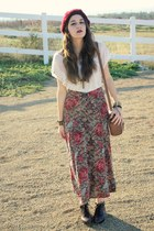 floral maxi skirt - brown ankle boots - maroon knit hat - long strap purse
