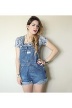 boots - shirt - denim overall shorts - snake ear cuff accessories