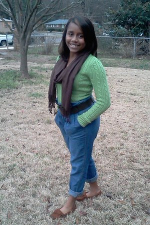 high waisted jeans - Aeropostale sweater - brown scarf - no brand belt