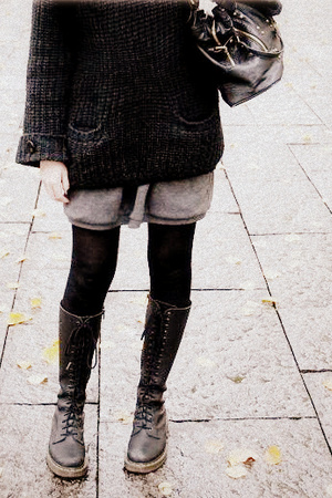Louis Vuitton purse - tights - dress - sweater - Dr Martens shoes