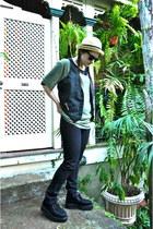 cream hat - black suede creepers Demonia shoes - black Ksubi jeans