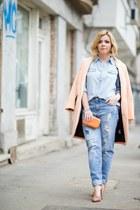 H&M coat - New Yorker jeans - New Yorker shirt - Dasha bag - H&M pumps