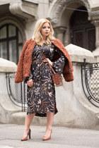 black Marks&Spencer dress - tawny Marks&Spencer coat