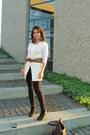 Jane-norman-leggings-mentor-scarf-h-m-vest-vintage-blouse
