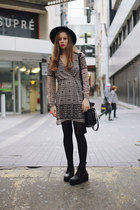 black OASAP hat - black Wholesale7 boots - light brown wish dress