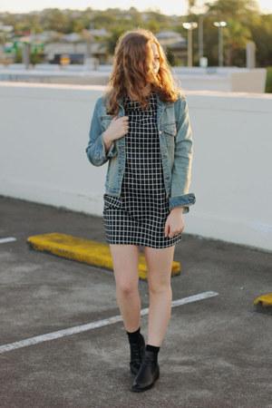 black ankle boots Lipstik boots - black shift check Pop Cherry Fashion dress