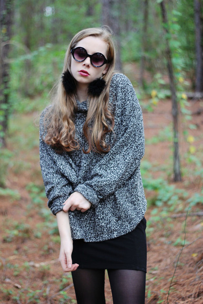 dark gray American Apparel sweater - black OASAP sunglasses