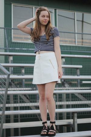 leather skirts Mik & Gala skirt - crop top Mink Pink shirt