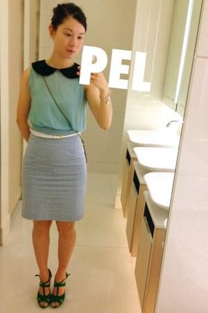 light blue pencil skirt skirt