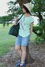 Dark-green-topshop-bag-periwinkle-denim-shorts-bossini-shorts