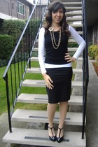 white Old Navy shirt - black Mossimo vest - black XXI skirt - beige Express stoc