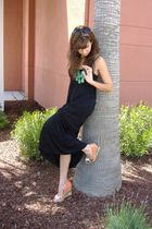 black dress - Ed Hardy shoes - Forever 21 necklace - Guess sunglasses