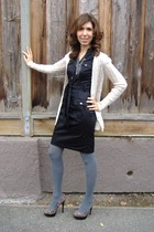 black H&M dress - gray tights - cardigan - Steve Madden shoes - black White Hous