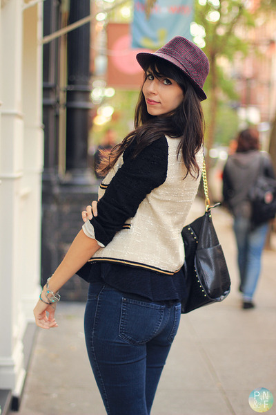 hat - Mango jacket - Steve Madden bag - Mango top