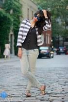light blue H&M jeans - Zara blazer - black H&M shirt - navy Tignanello bag