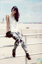 black Macys boots - navy galaxy print no name leggings - white H&M shirt