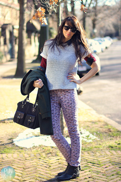 periwinkle H&M sweater - black Macys boots - dark green Esprit coat