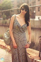 black striped maxi JC Penny dress - lime green brandy melville bag