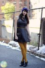 Black-forever-21-dress-deep-purple-h-m-trend-hat-mustard-macys-tights