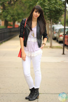 light purple lace Nasty Gal blouse - black Forever 21 boots - white Zara jeans
