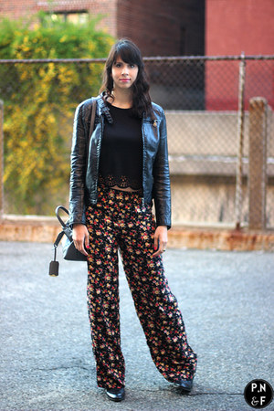 red floral Forever 21 pants - black leather jacket