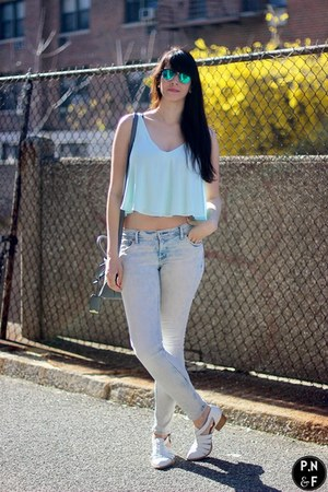 light blue H&M jeans - white Jeffrey Campbell shoes