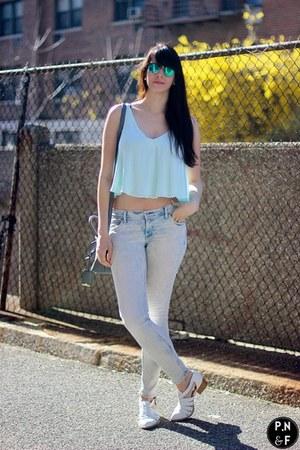 light blue H&M jeans - white Jeffrey Campbell shoes